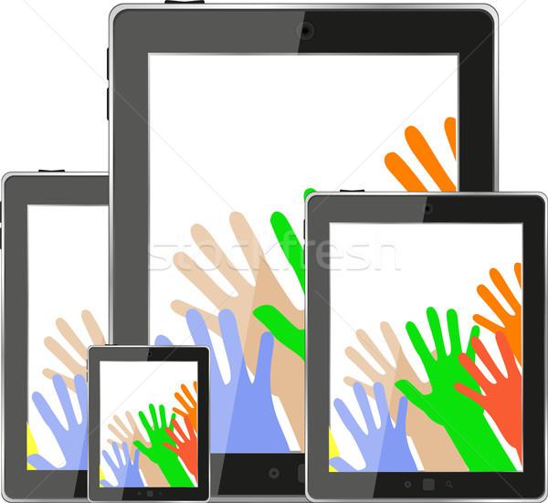 érintés táblagép számítógép modern technológia kezek Stock fotó © fotoscool
