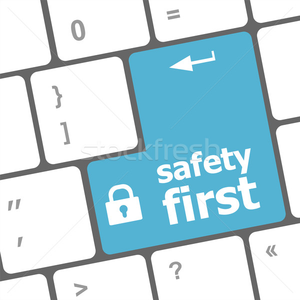 safety first, close up view on conceptual keyboard, Security blue key Stock photo © fotoscool