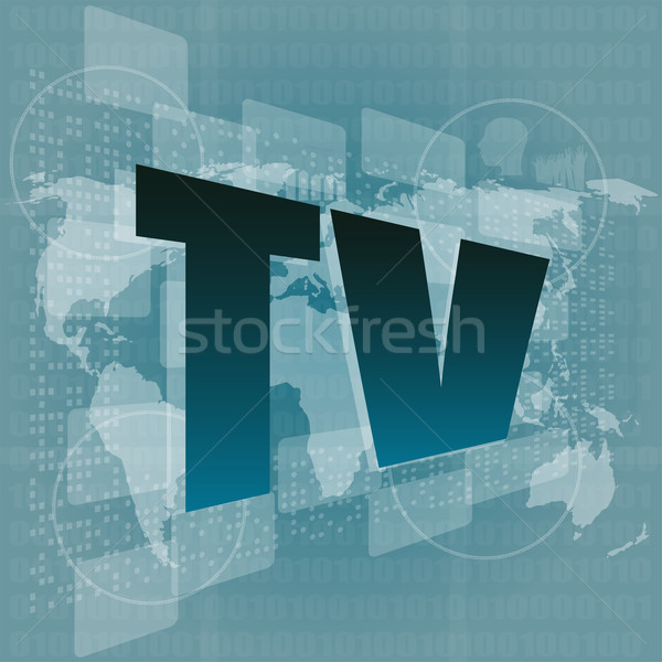 телевизор слово цифровой экране Мир карта бизнеса Сток-фото © fotoscool