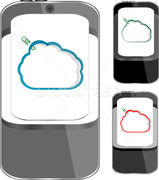 smart phone sets mobile handsets with abstract cloud on screen Stock photo © fotoscool