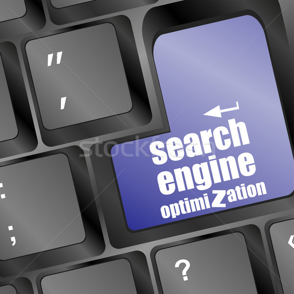 Stock photo: search engine optimization, computer keyboard with seo key