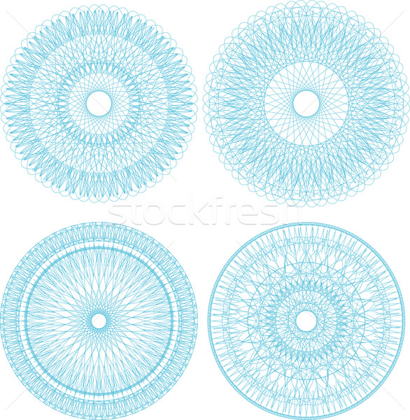 Set of guilloche rosettes certificate or diplomas, blue decorative elements Stock photo © fotoscool