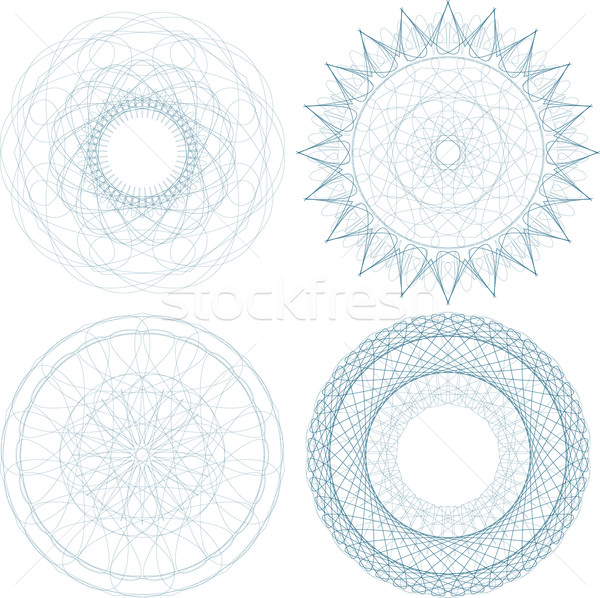 A set of vector guilloche blue seal, pattern for currency Stock photo © fotoscool