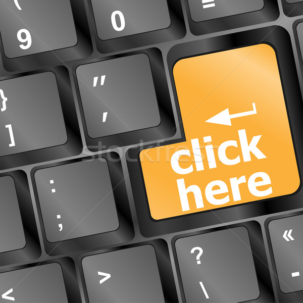 Keyboard with click here button, internet concept Stock photo © fotoscool