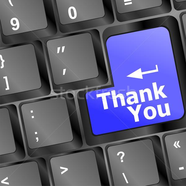 Számítógép billentyűzet köszönjük kulcs üzlet laptop információ Stock fotó © fotoscool