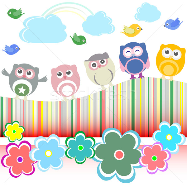 Vector set - owls, birds, flowers, cloud and rainbow Stock photo © fotoscool