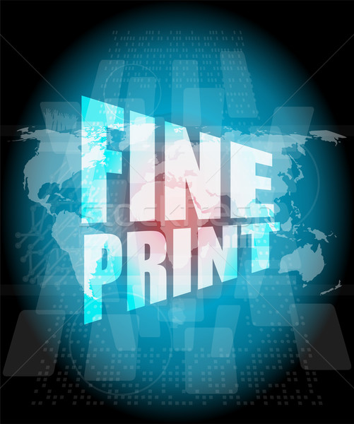 fine print words on digital touch screen interface Stock photo © fotoscool