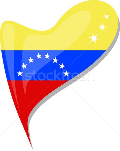 Stockfoto: Venezuela · vlag · knop · hartvorm · vector · icon