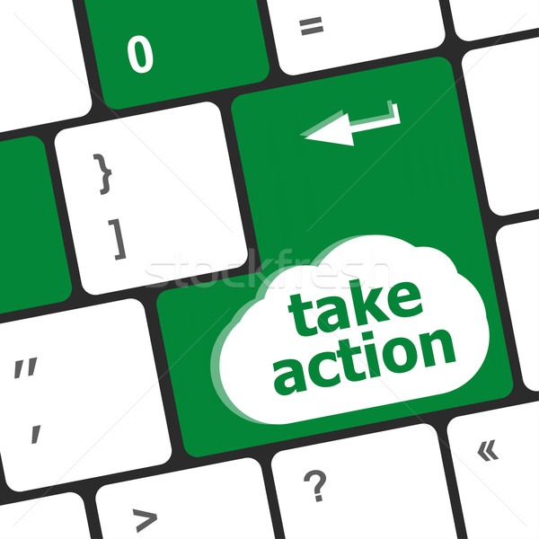 Take action key on a computer keyboard, business concept Stock photo © fotoscool