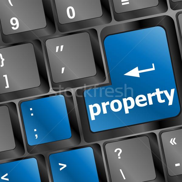 Propriété un message clavier clé illustrer Photo stock © fotoscool