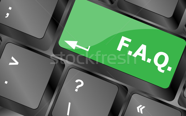 Toetsenbord faq knop business internet contact Stockfoto © fotoscool