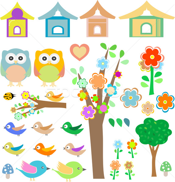 Set birds with birdhouses, owls, trees and flowers Stock photo © fotoscool