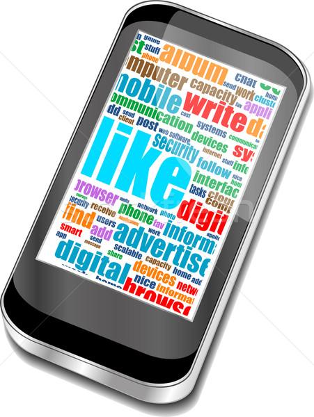 бизнеса слов экране телефон Сток-фото © fotoscool