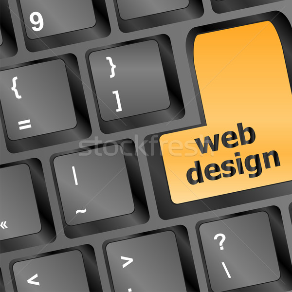 Web design text on a button keyboard Stock photo © fotoscool