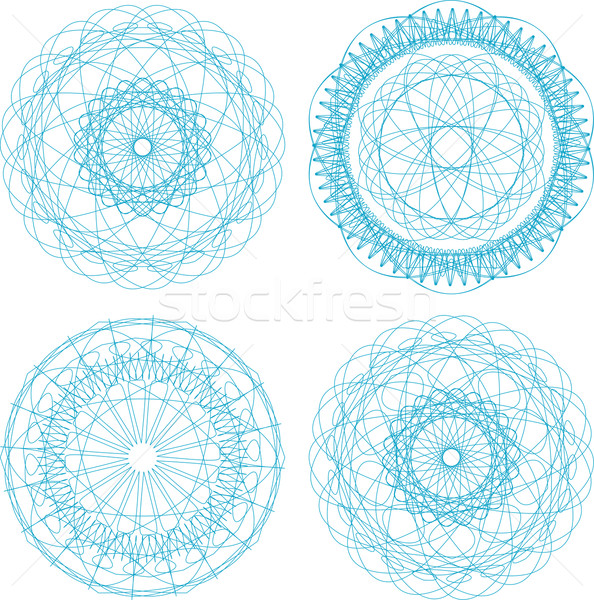 Set of four guilloche rosette Stock photo © fotoscool