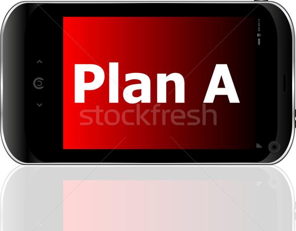 Plan kelime akıllı cep telefonu mavi ekran Stok fotoğraf © fotoscool