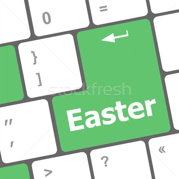 Húsvét szöveg gomb számítógép billentyűzet kulcsok tavasz Stock fotó © fotoscool