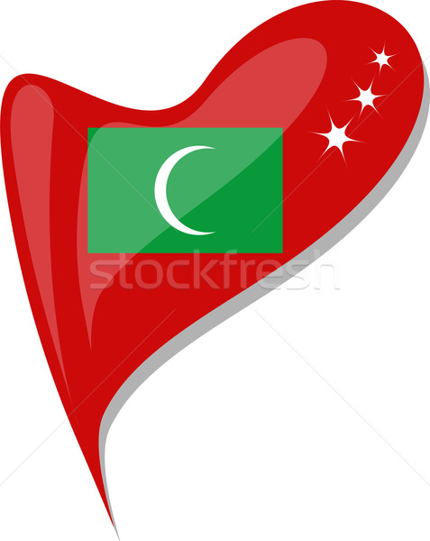 maldives flag button heart shape. vector Stock photo © fotoscool