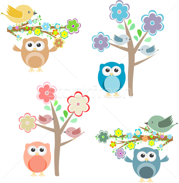 Blooming tree and branches with sitting owls and birds Stock photo © fotoscool