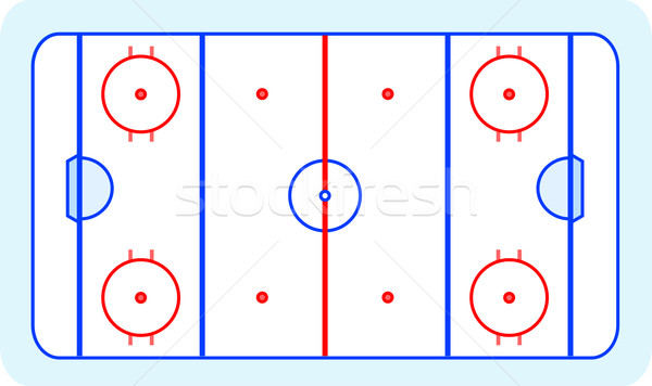 stylized ice hockey ground with all lines on white background Stock photo © fotoscool