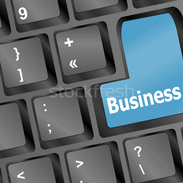 Laptop keyboard and blue key Business on it Stock photo © fotoscool