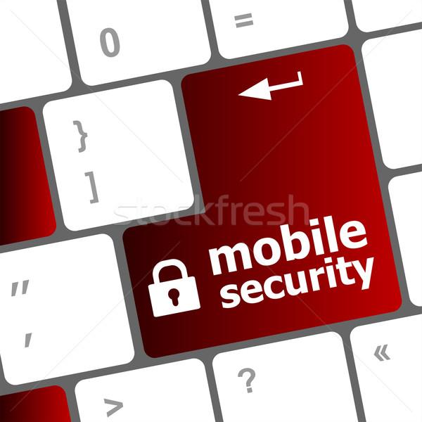 мобильных безопасности ключевые клавиатура портативного компьютера бизнеса Сток-фото © fotoscool