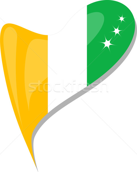 ivory coast in heart. Icon of ivory coast national flag. vector Stock photo © fotoscool