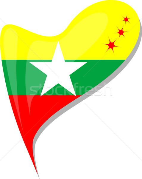 Myanmar bayrak düğme kalp şekli vektör ikon Stok fotoğraf © fotoscool