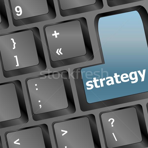 Stratégia szöveg szimbólum billentyűzet üzleti stratégia remek Stock fotó © fotoscool