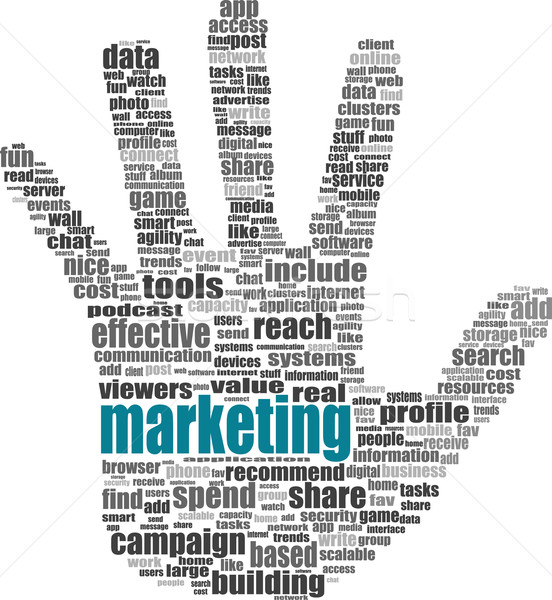 Illustration of the hand symbol, which is composed of text keywords on social media themes. Isolated Stock photo © fotoscool