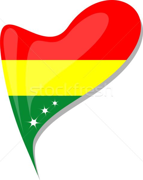 Bolívia zászló gomb szív alak vektor ikon Stock fotó © fotoscool