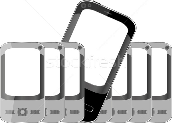 Stock photo: Mobile phones background with empty screen
