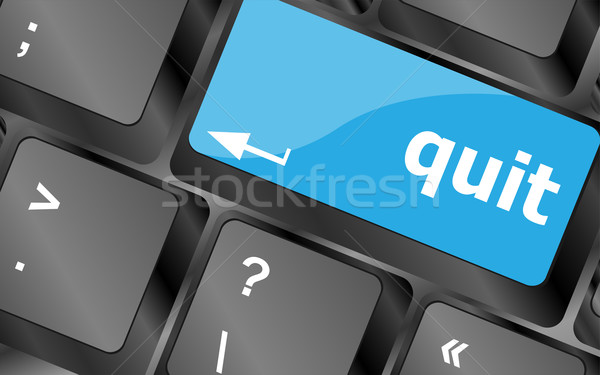 quit button on black internet computer keyboard Stock photo © fotoscool