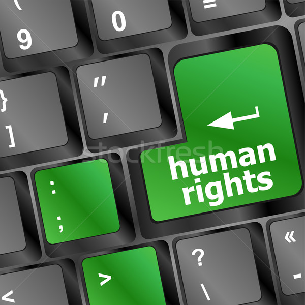 human rights button on computer keyboard pc key Stock photo © fotoscool