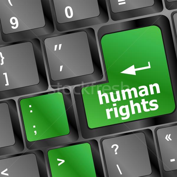 Insan hakları düğme bilgisayar klavye pc anahtar bilgisayar Stok fotoğraf © fotoscool