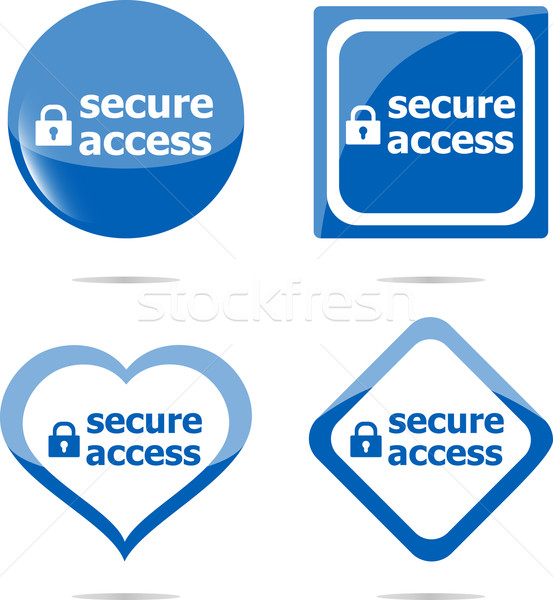 secure access with lock on black stickers set Stock photo © fotoscool