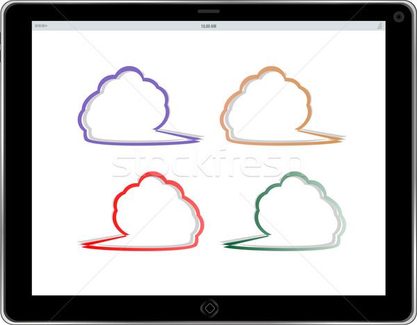 空っぽ 雲 画面 ノートパソコン 技術 ストックフォト © fotoscool