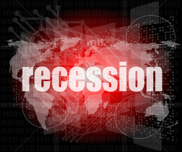Stock photo: Business concept: words recession on business digital screen, 3d