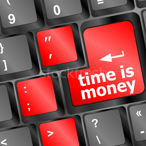 Time concept: computer keyboard with word Time is Money Stock photo © fotoscool