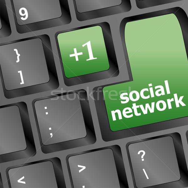 Közösségi háló billentyűzet egy kulcs számítógép internet Stock fotó © fotoscool