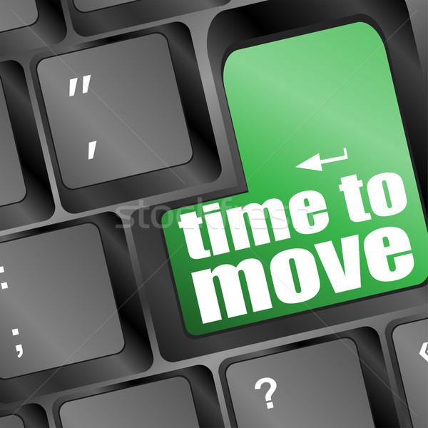 Zaman sözler hareket klavye dizüstü bilgisayar arka plan Stok fotoğraf © fotoscool