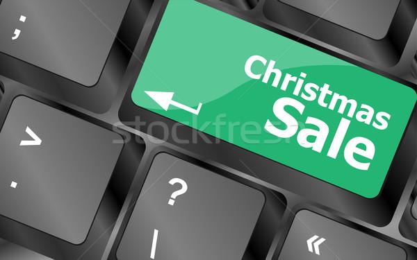 Karácsony vásár számítógép billentyűzet kulcs gomb üzlet Stock fotó © fotoscool