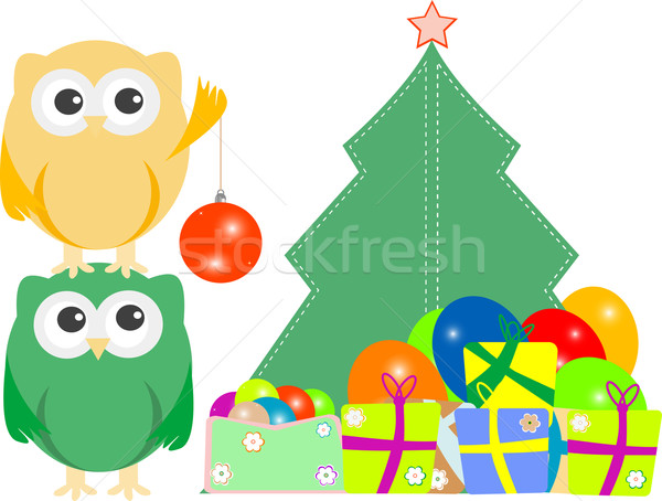 owl family with christmas tree, balls, balloons and gift boxes Stock photo © fotoscool