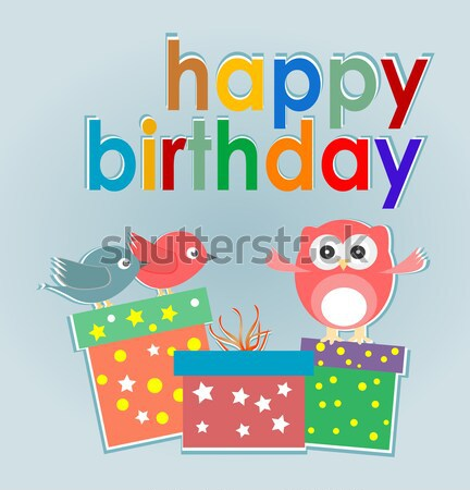 vector happy birthday cards with cute birds and gift box Stock photo © fotoscool