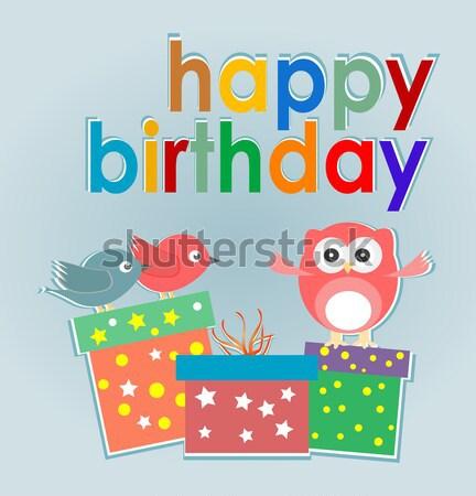 Vecteur joyeux anniversaire cartes cute oiseaux coffret cadeau Photo stock © fotoscool