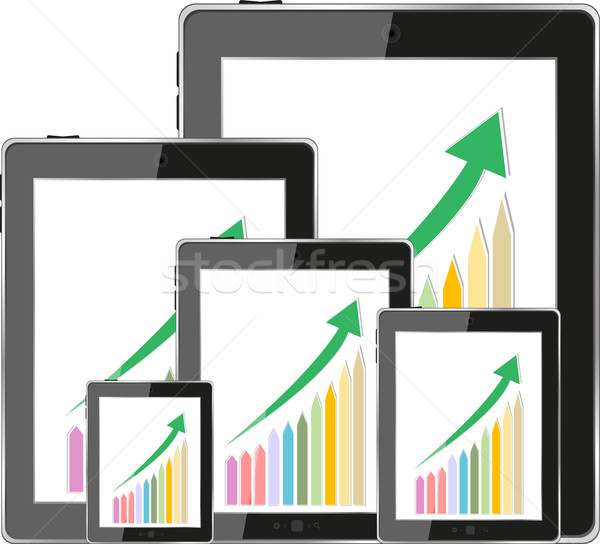 Modern digital tablet PC showing success growth chart on a screen. Isolated on white Stock photo © fotoscool