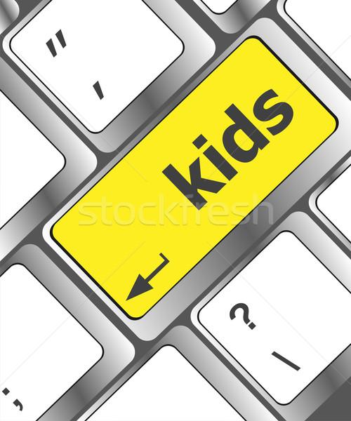 Gyerekek kulcs gomb számítógép billentyűzet internet gyermek Stock fotó © fotoscool