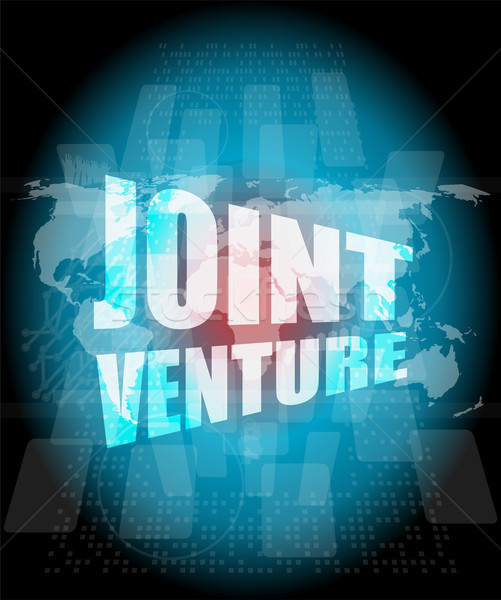 joint venture words on digital screen background with world map Stock photo © fotoscool