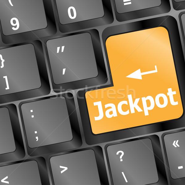Clé mots jackpot portable clavier Photo stock © fotoscool