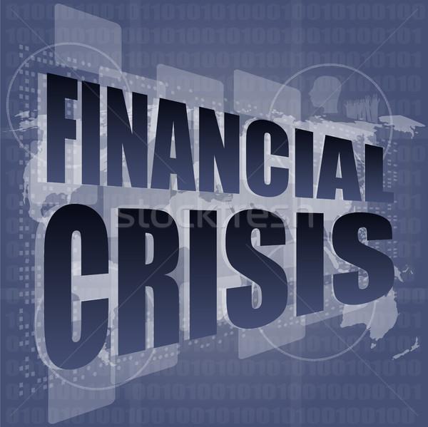 Finansal kriz iş dokunmak ekran Internet adam Stok fotoğraf © fotoscool